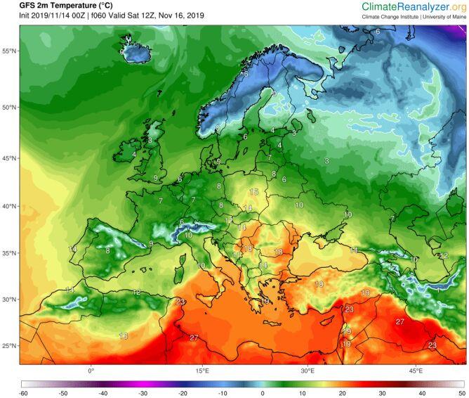 Prognozowana temperatura na sobotę (16 listopada)(GFS/University of Maine)