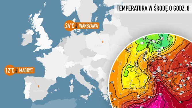 Warszawa gorętsza od Madrytu. Rano nawet na Śnieżce było cieplej niż w stolicy Hiszpanii