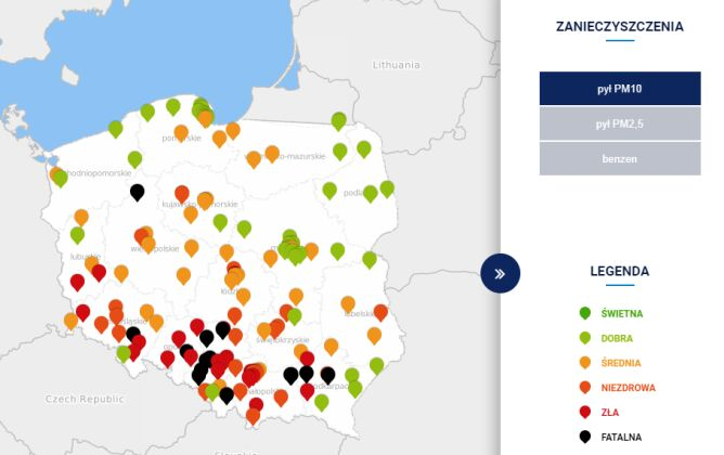 Stężenie pyłu PM10 o godzinie 10.00 (tvnmeteo.pl za GIOŚ)