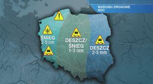 Warunki drogowe w nocy 24/25.01